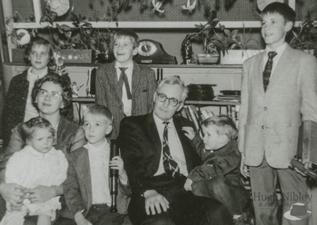 Group photo of the Hugh Nibley family