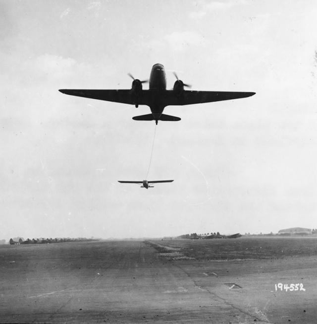 C-47 tows Waco glider.